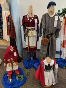 Three medieval outfits on display for the Iowa State Fair.